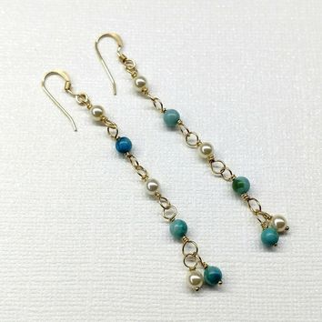 14 KT Gold Filled Long Dangle Turquoise and Pearl Earrings