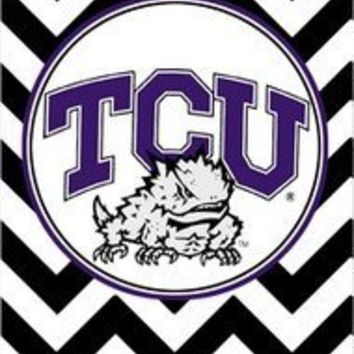 NCAA TCU Horned Frogs Apple Iphone 5 Case Texas Christian University Black And White Wavy Stripes Design White Hard Case Cover Gift Idea