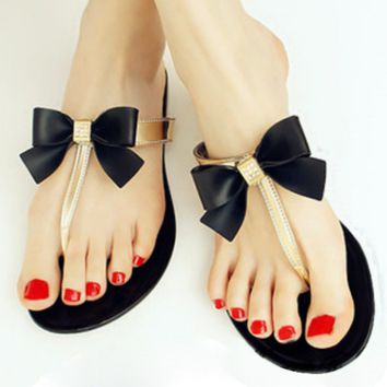 Bow Thong Jelly Shoes Woman Jelly Flip Flops Women Sandals Ladies Flat Slippers Zapatos Mujer Sapatos Femininos