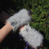 Hand-Knitted Super Soft Silver Grey Fingerless Mittens With Pretty Recycled Buttons- FREE UK Shipping