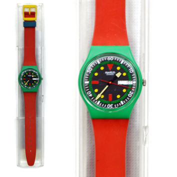 Vintage 80s Swatch Swiss Watch Emerald Diver GG703 Wristwatch Pop Art Glow-in-the-Dark