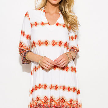 Multicolor Abstract Ethnic Print Indian Collar Tunic Boho Mini Dress