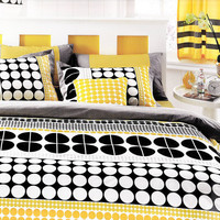 Customizable Queen Size White Grey Black and Yellow Geometric Round Dots Design Printed Bedding Set Mothers Day gift Idea For Mom