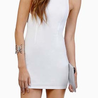 White Sleeveless High Neckline Strappy Cut-Out Back Bodycon Dress