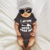 """I Drink Until I Pass Out"" Funny Baby Onesuit"