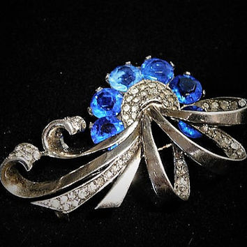 Vintage Marcel Boucher Sterling Sapphire Blue Rhinestone Brooch 1940s NY Designer MB Phrygian Cap Hollywood Wedding Bride Bridal Jewelry