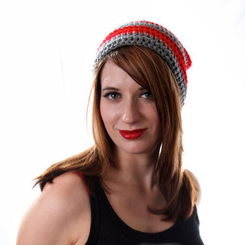 Crochet Slouch Beanie Hat Striped Kendall in Grey and Red Medium