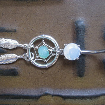 Icy Green Sea Glass Opal Dream Catcher Belly Button Jewelry Ring- Feather Dangle Mint Dreamcatcher Navel Piercing Jewelry Azeeta Designs
