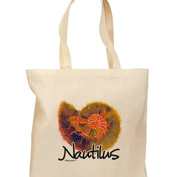 Nautilus Fossil Watercolor Text Grocery Tote Bag