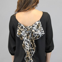 Bow Back Top - Leopard