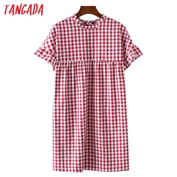 Tangada Fashion Women Red Plaid Dress School Style 70s Vintage Dresses Butterfly Sleeve O-Neck Back Bow Tie Loose Sundress FF3