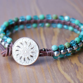 Bohemian leather wrap bracelet, leather cuff, blue, green, silver, picasso, Turquoise, trendy jewelry, boho chic