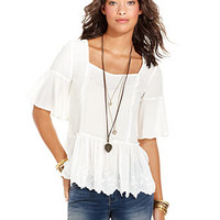 Free People Top, Short-Sleeve Square-Neck Lace - Tops - Women - Macy's