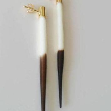 African Quill Protection Earrings 14K Gold