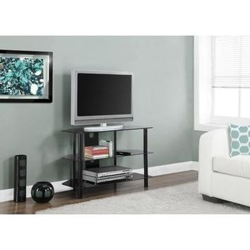 Monarch Specialties Black Metal TV Stand With Tempered Black Glass I 2506