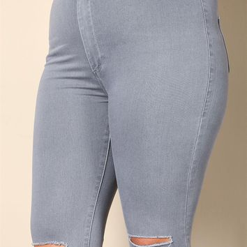Plus Size Clothing | Plus Size High Rise Knee Slit Jeans | Debshops