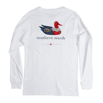 Authentic Georgia Heritage Long Sleeve Tee in White by Southern Marsh - FINAL SALE
