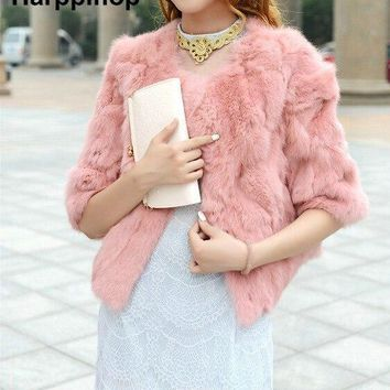 Hot Women Real Rabbit Fur Coat Natural Rex Rabbit Fur Coat O-Neck Thin Fashion Slim Rabbit Fur Coat Full Pelt Genuine Fur Jacket
