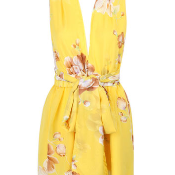 Yellow Floral Print Deep V-neck Waist Belt Romper