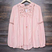 boho long sleeve peasant blouse with lace inset - dark salmon