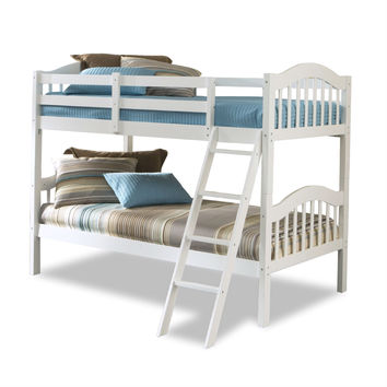 Twin Over Twin Size Solid Wood Bunk Bed in White Finish