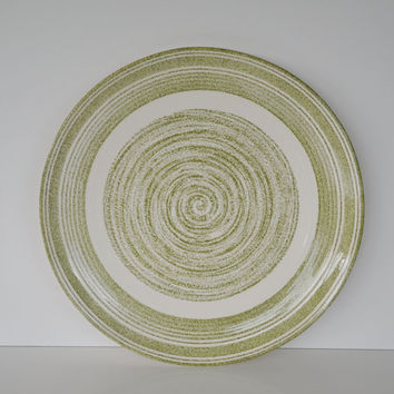 """Vintage Max Schonfeld Casual Ironstone El Verde Large Green and White Pottery Plate 12"""""""