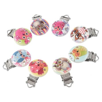 5PCs Random Mixed Round Wooden Baby Pacifier Clip Infant Soother Clasps Cute Cartoon Owl Funny Accessories 4.5cmx2.9cm