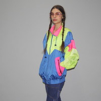 1990s Vintage Neon Colorblock Windbreaker Jacket – Vanguard Vintage Clothing