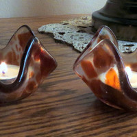 Fused Glass Candle Holders Clear Glass and Burnt Orange. Statteam