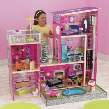KidKraft Uptown Dollhouse with Furniture - 65833 - Toy Dollhouses at Hayneedle