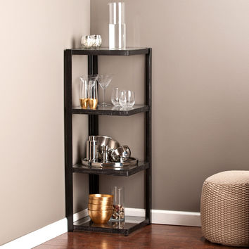 Metal/Glass Corner Shelf, Distressed Black