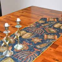 "Table Runner of Tapestry, Shabbat or Jewish Holidays, Jewish table decor, 70"" long with 4"" tassels"