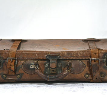 Antique Leather Suitcase / Old Leather Suitcase