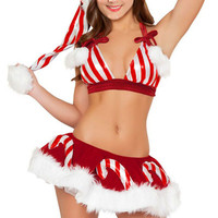 Candy Cane Halter Top and Skirt Bottom Christmas Costume