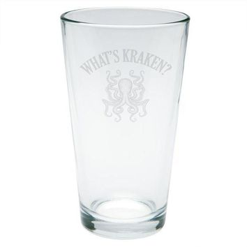 MDIGCY8 What's Kraken Octopus Squid Etched Pint Glass