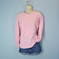 70s Pastel Pink Sweater Bows Sweetheart Floral