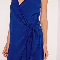 Missguided - Strappy Wrap Tie Waist Shift Dress Cobalt Blue
