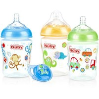 Nuby 3-Pack Natural Touch 9-oz Printed Baby Bottles with Comfort Orthodontic Pacifier, Boy, BPA-Free - Walmart.com