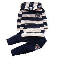 BibiCola Baby Boys/Girl Clothing Sets Infant Sport Suit Set Fashion Kid Hoodies+Pants Suit Set Toddler Striped Tracksuit Clothes