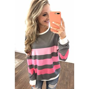 *Pre-Order* Spring's Pink Dream Striped Top