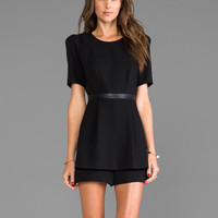 Milly RUNWAY Doubleweave Twill Leather Detail Jumper in Black
