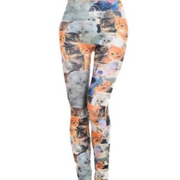 Amour - Woman Lady Elastic Waist Cute Cats Lovely Print Ankle Length Footless Pantyhose Skinny Leggings Pants One size