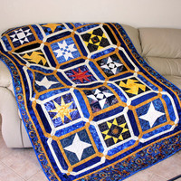 Twin Bed Quilt , Celestial Stars In Blue , Gold and White , Heavenly Stars , Dorm Quilt , Boys Child's Twin Bed Quilt , Blue Gold Quilt