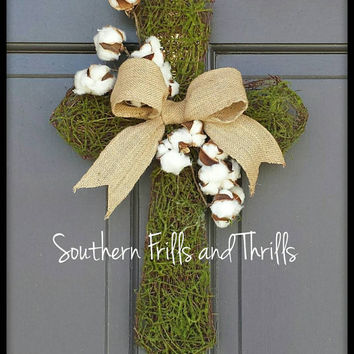 Moss and Vine Cross, Cross Door Hanger, Burlap Cross, Cotton Door Hanger, Cross Wreath, Burlap Wreath, Cotton Wreath, Easter Wreath