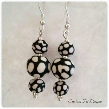 Unique Black and White Polka Dot Dangle Earrings Made With Rubberized Beads Birthday Present Anniversary Gift Gifts for Her Wedding Jewelry