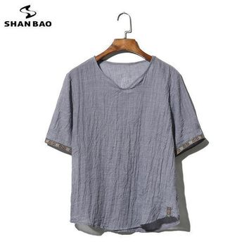 Shao Bao Brand Clothing Cotton And Linen Short Sleeved T Shirt Men's 2017 Summer Thin Paragraph Loose T Shirt Large Size M 5xl