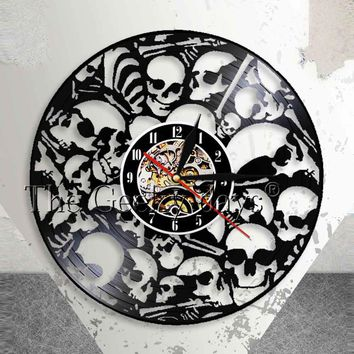 Dead Skeletal Heads Wall Clock Make Of Vinyl Record Vintage Hanging Piled Skulls Wall Art Halloween Horror Decor Vinyl Clock
