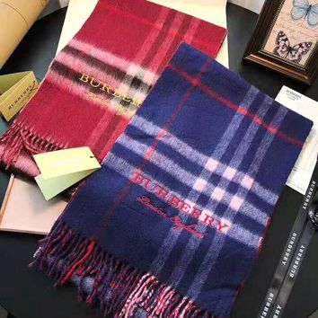 BURBERRY Classic Popular Women Men Classic Plaid Letter Embroidery Cashmere Cape Scarf Scarves Shawl Accessories