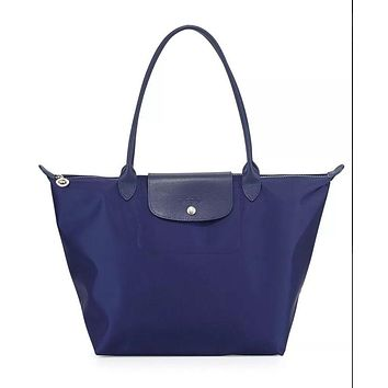 NEW Longchamp Women's Blue Le Pliage Nylon Leather Large Tote Bag Navy