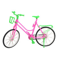 Green Plastic Detachable Bike Toy Bicycle With Basket For Barbie Doll Great Children Gift